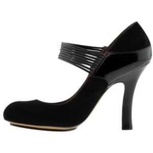 Modern Vintage Edwiges Art-Deco Black Suede Pumps